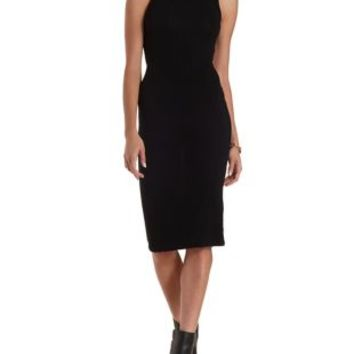 Black Backless Mock Neck Midi Dress by Charlotte Russe