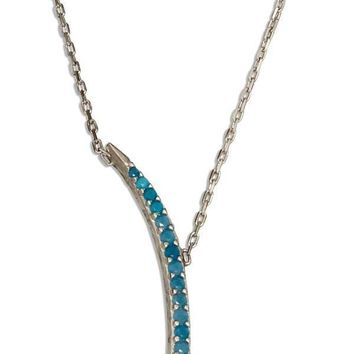 "Sterling Silver Necklace:  17-18.5"" Adjustable Sky Blue Micro Pave Cubic Zirconia Crescent Moon Necklace"