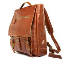 Authentic handmade in Italy Leather Backpack Laptop Bag - Brown