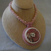 Rhodonite Donut Necklace with Bead Embroidered Setting