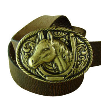 "Lifetime Warranty ! Men's Brown Belt , Leather Belt , Brown Belt , Western Belt , 1.5""  Model "" C-43 ""  , "" Cowboy Horse Buckle  """