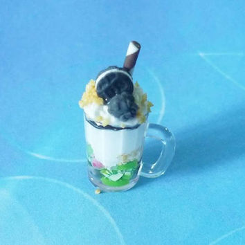 Kids dollhouse cookies chocolate stick mixed fruit smoothie glass-kids toys -miniature beverage -dollhouse miniatures -1 12 scale