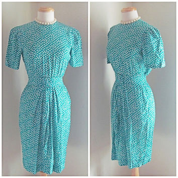 80s does 50s Seafoam Green White Flowered Wiggle Dress