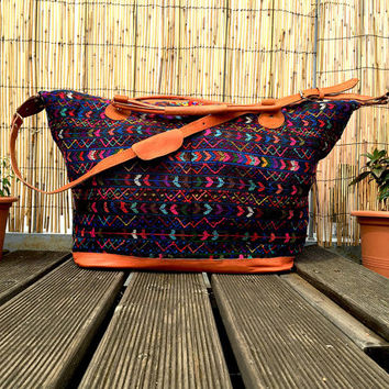 Mexican Overnight Bag - large embroidered Mexican folk art traditional woven overnight travel Mayan blouse handmade