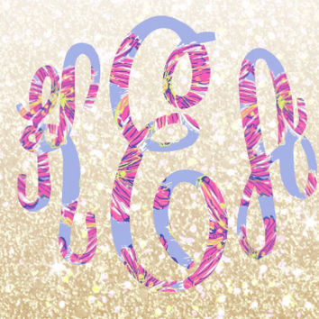 Lilly Pulitzer Monogram Decal For Yeti Tumblers, Cars, and Tech Devices