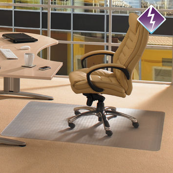 """Computex Anti-Static Advantagemat PVC Clear Chair mat for Standard Pile carpets 3/8"""" or less , Rectangular with Front Lipped Area for Under Desk Protection"""