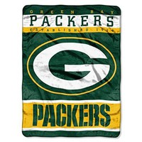 NFL Green Bay Packers Plush Raschel Blanket, 60 x 80-Inch, Green