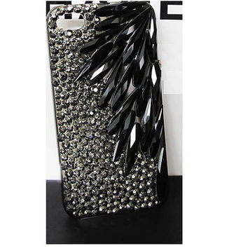 Handmade Bling sparkle diamond crystal pearl Rhinestone iPhone 6 6 plus 5 5s 5c 4s case cover samsung galaxy s5 note 2 note3 case black leaf