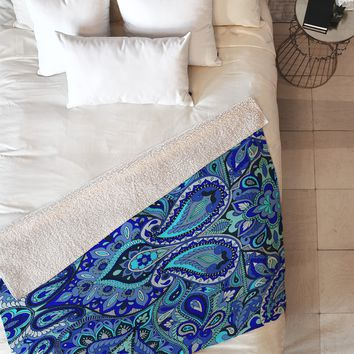 Aimee St Hill Paisley Blue Fleece Throw Blanket