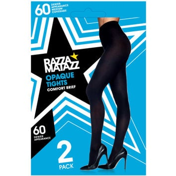 RazzaMatazz 60D Opaque Tights Value 2-Pack - Black - Size Tall