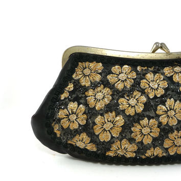 Vintage black & gold satin clutch evening bag, Handbag, Purse, Vintage fashion