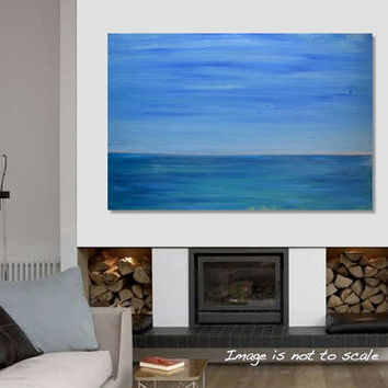 Original Large Abstract Seascape Painting - Minimalist Canvas Acrylic Wall Art - Blue Green Sea, Light Blue Sky - Calm Ocean II: 36 x 24