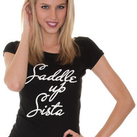 """Cowgirl Justice Women's """"Saddle Up Sista"""" Short Sleeve Tee Shirt"""