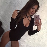 Cotton Knit Deep V Neck Long Sleeve Leotard Body Suit