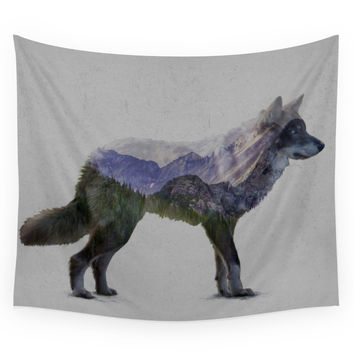 Society6 The Rocky Mountain Gray Wolf Wall Tapestry