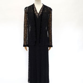 VINTAGE 1930s LACE EVENING DRESS 14
