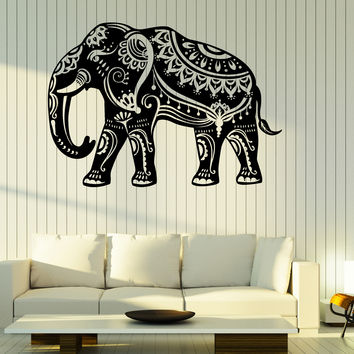 Wall Vinyl Decal Indian Elephant Pattern on Skin Home Interior Decor Unique Gift z4675