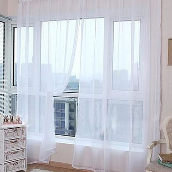 2Pcs Solid Color Washable Window Panel Sheer Scarfs Valances