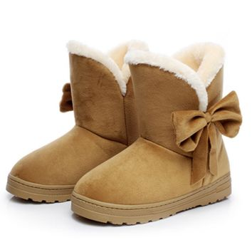 Ugg boots during the winter to keep warm boots and thicken the new bow boots Brown