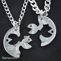 Mr and Ms PacMan Couples Necklaces, 1980 Quarter