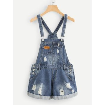 Ripped Cuffed Denim Overalls