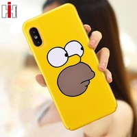 Hisomone Yellow Phone Cases For iPhone 6 6S Plus Cover Funny Cute Cartoon Case For Apple iPhone 8 7 Plus X 5.5 inch Capa