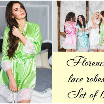 SET of 6, Bridesmaid robes, bridesmaids  gifts, bridal shower gift, getting ready gowns, wedding day robes, bridesmaids robes, wedding robes