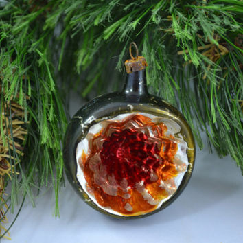 Vintage Hand Blown Deep Single Indent Christmas Ornament
