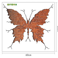 Butterfly Shape Broken Wall Brick wall stickers Living room Bedroom Home decor Wall Decals Art Poster 3d effect Decoration SM6