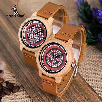 Women Color Print  On Dial Face Bamboo Watch