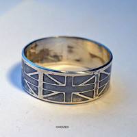 Ring Custom Personalized British flag Union Jack by MineOverMatter