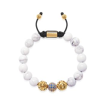 Men's Beaded Bracelet with Howlite, Gold and Blue CZ