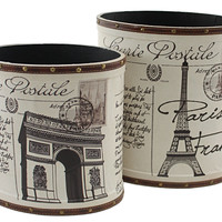 Aspire 2 Piece Paris Trash Canister Set