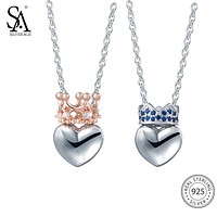 SA SILVERAGE 925 Sterling Silver Heart Necklaces Pendants for Women Fine Jewelry Rose Gold Color 925 Silver Pendant Necklace