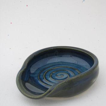 Spoon Rest Stove Top Muddy Paws Pottery Blue by ceramicrat13