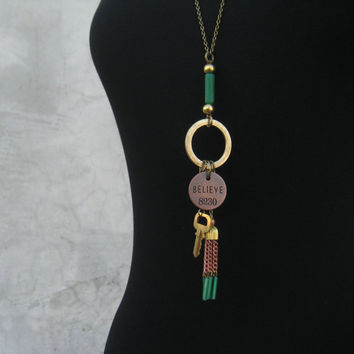 Green Tassel Necklace - Key - Brass - Copper - Inspirational Jewelry - Long Necklace - Vintage Tassel