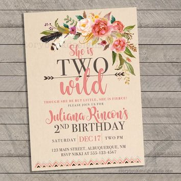 Two Wild Birthday Party Invitations