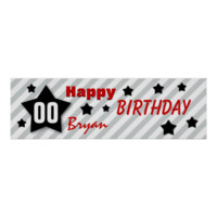 ANY YEAR Birthday Star Banner GRAY STRIPES STARS 4 Poster