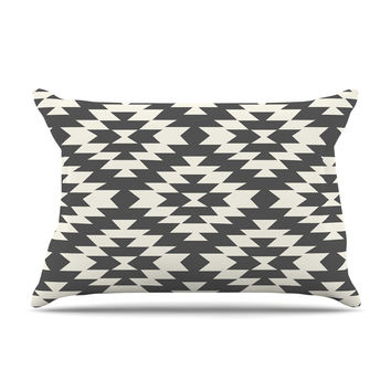 "Amanda Lane ""Southwestern Black Cream"" Tribal Geometric Pillow Sham"