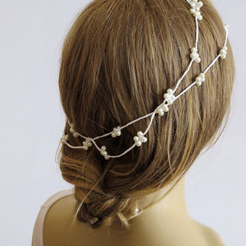 Wedding crochet Pearl  headband, Bridal hairband, Pearl Headband, Wedding Hair Accessories, Bride, Bridal Hair Accessories, gift, handmade
