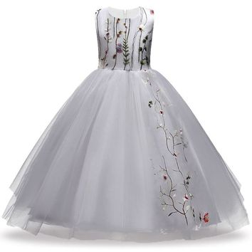Kids Christmas clothing Dress for Girls Children Bridesmaid Toddler Elegant Dress Wedding pageant Lace Formal Party Dress