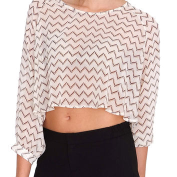 Zig Zags On It Chiffon Crop Top - Ivory
