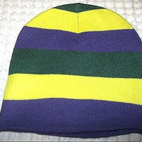 Mardi Gras Purple,Yellow,&Green Stripes Winter Knitted Skull Beanie Ski Cap-New