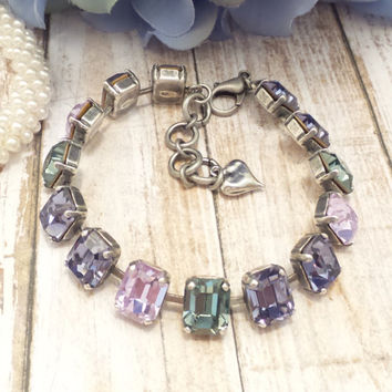 TRADITIONAL ELEGANCE, swarovski bracelet, princess cut, rectangle stones, princess stones, alexandrite, tanzanite,dksjewelrydesigns