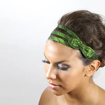 green bow headband, green headband, hair accessories, hair bands
