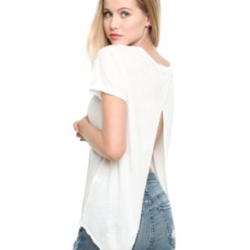 Open Back Dip Hem Top