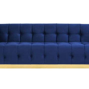 Roma Navy Velvet Sofa with Gold Base