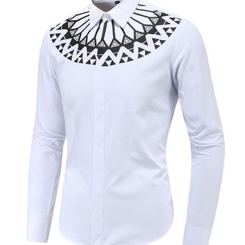 Streetstyle  Casual Fabulous Geometric Tribal Printed Men Shirt