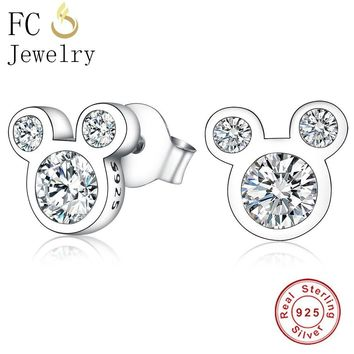 FC Jewelry 925 Sterling Silver Cartoon Mickey Clear Cubic Zirconia Crystal Stone Stud Earrings For Women Girl 2018 Brincos Gift
