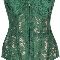 Daisy Corsets Top Drawer Green Underwire Sheer Lace Steel Boned Corset